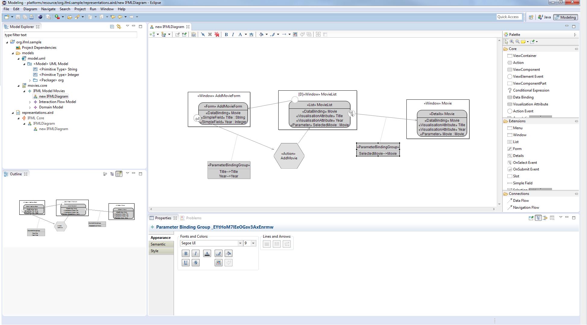 IFML Editor example