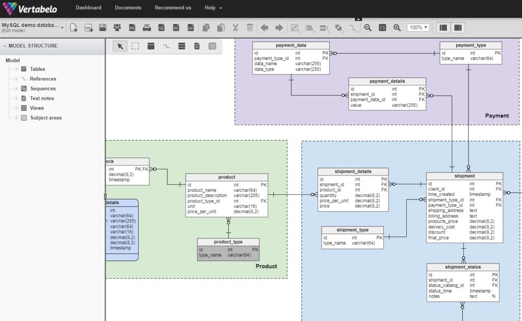 Verbatelo - online database modeling