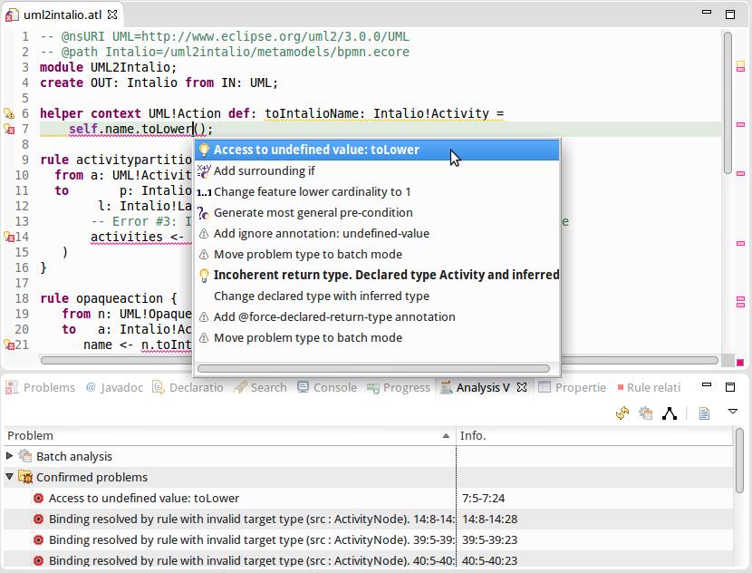 screenshot of the model transformation analyzer