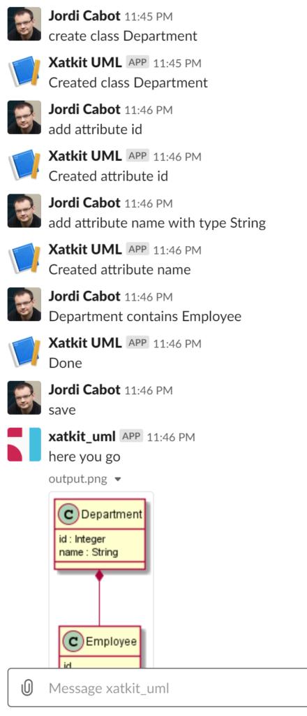 UML modeling in Slack