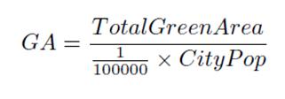 An example of a KPI (i.e., Green Areas) formula.